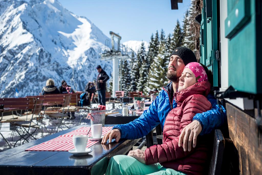 Mittagspause beim Skifahren