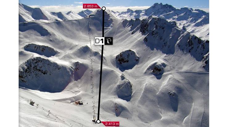 Ligging van de nieuwe Palinkopfbahn in het skigebied Silvretta Arena Ischgl-Samnaun