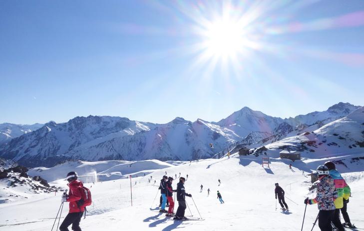 skiën in het zonnetje in skigebied Silvretta Arena Ischgl - Samnaun