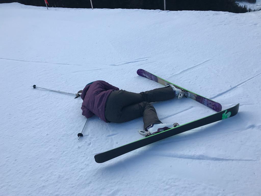 Valpartij wintersporter