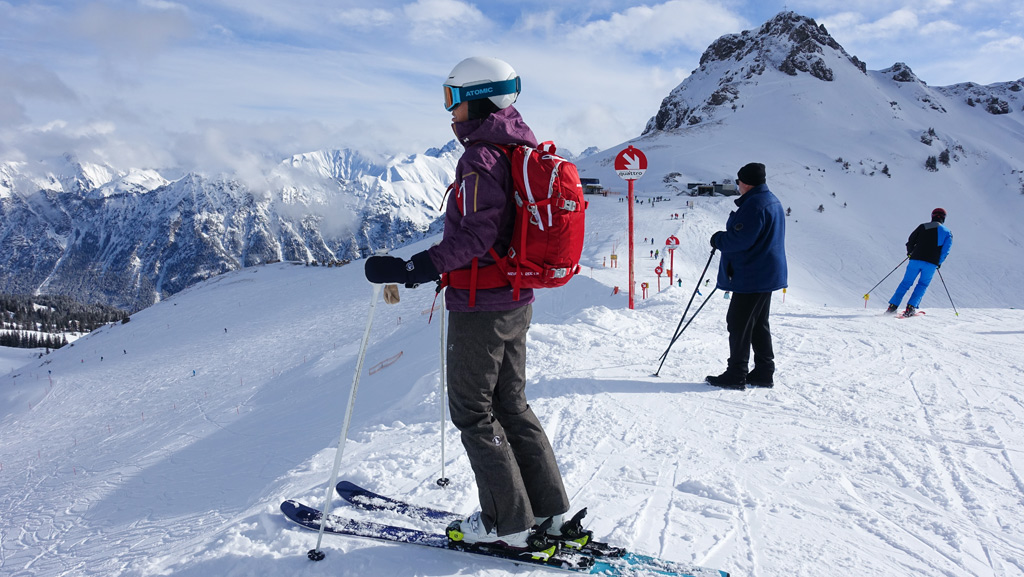 Skiër op de piste in Kleinwalsertal & Oberstdorf