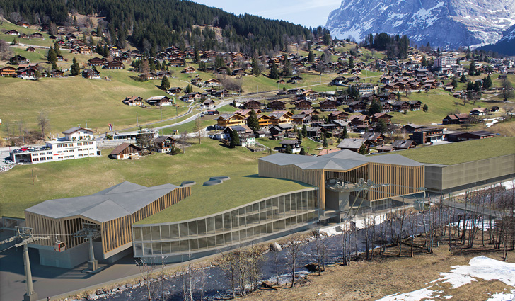 Impressie dalstation V-Bahn Grindelwald Grund