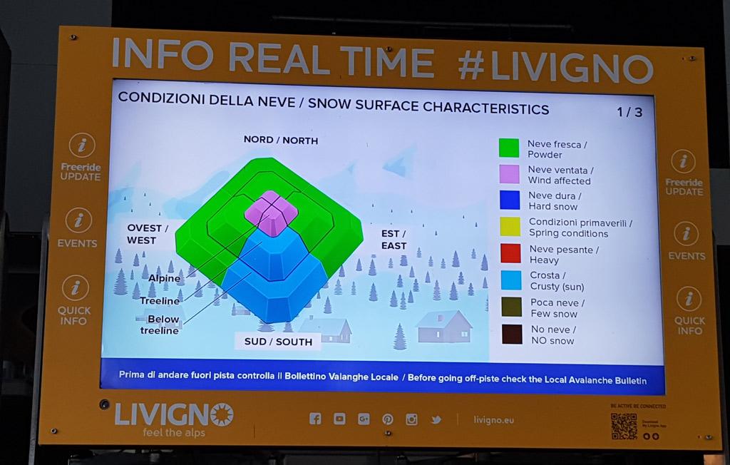 Het freeride bulletin met informatie over de sneeuw en lawines in livigno
