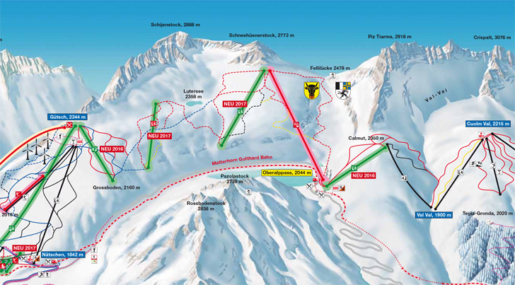 Ligging op pistekaart van Oberalppass-Schneehüenerstock gondel