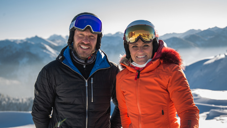 Hermann Maier met Alexandra Meissnitzer