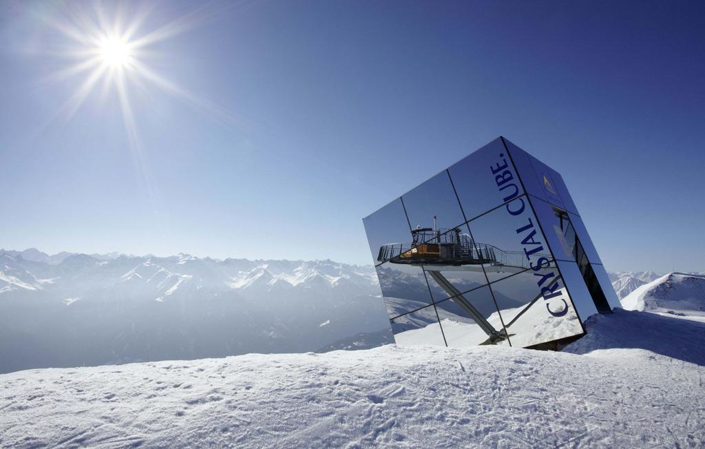 Berghut de Crystal Cube op de berg in Serfaus Fiss Ladis