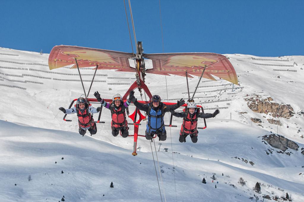 Een ritje in de Fisser Fliger in skigebied Serfaus-Fiss-Ladis