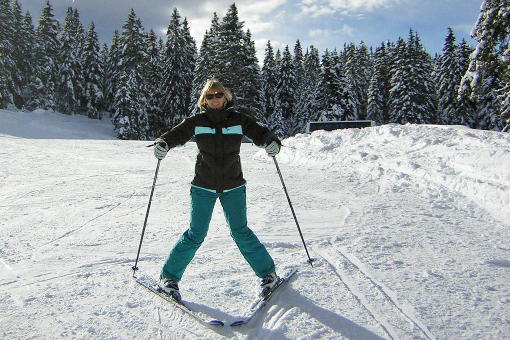 Pizzapunt op de piste tijdens het skiën