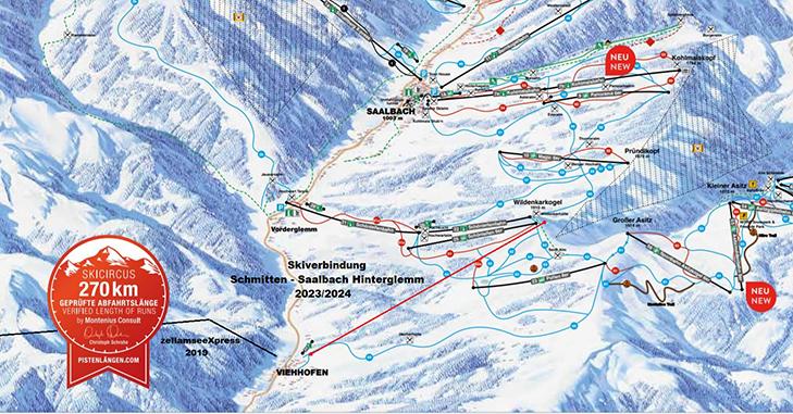Pistekaart Saalbach-Hinterglemm met nieuwe verbinding