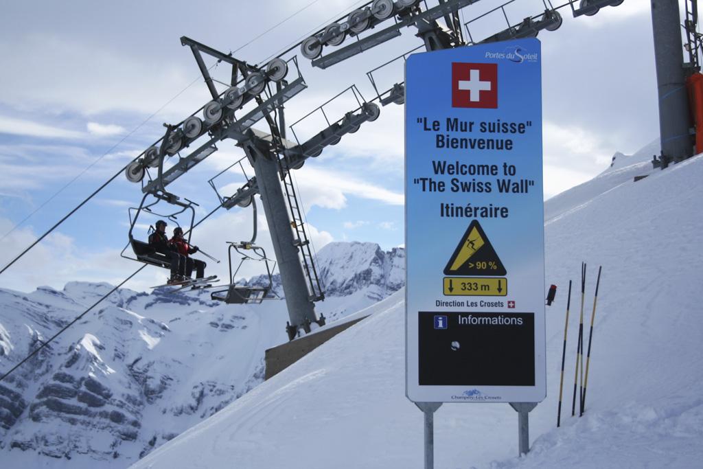 Avoriaz: pistebord Le Mur Suisse