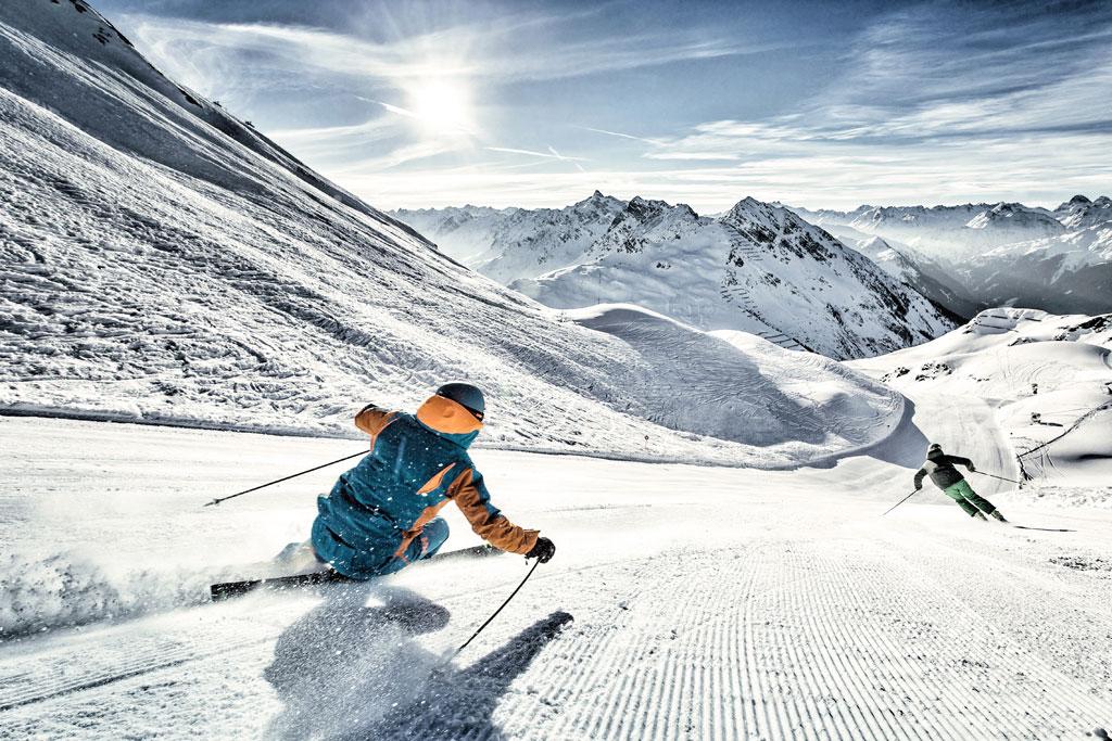 Skiën op de piste in het Montafon