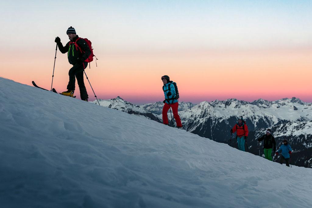 Toerskiën tijdens de skitour in Gargellen in het Montafon