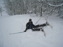 Skier on the ground