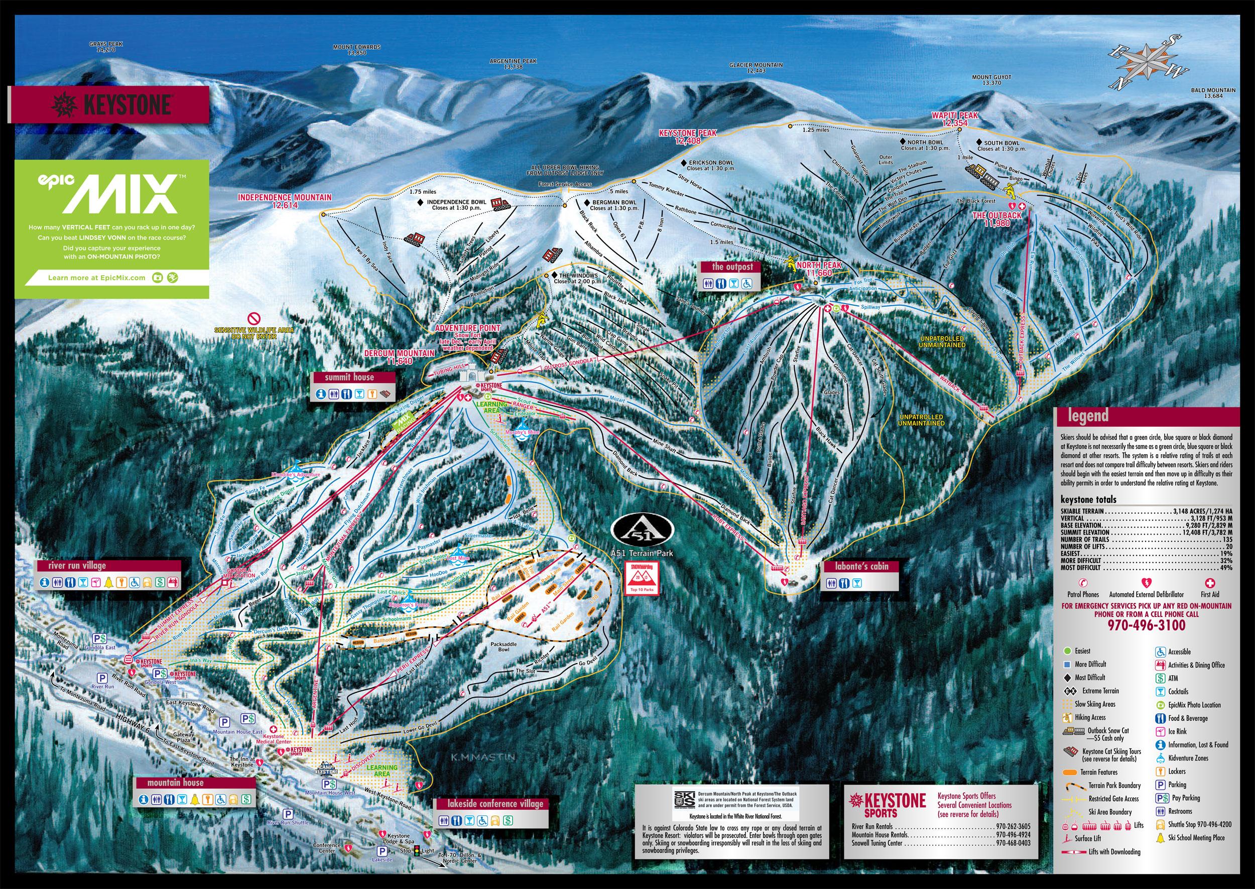 Ski map Keystone (United States) Keystone Map on