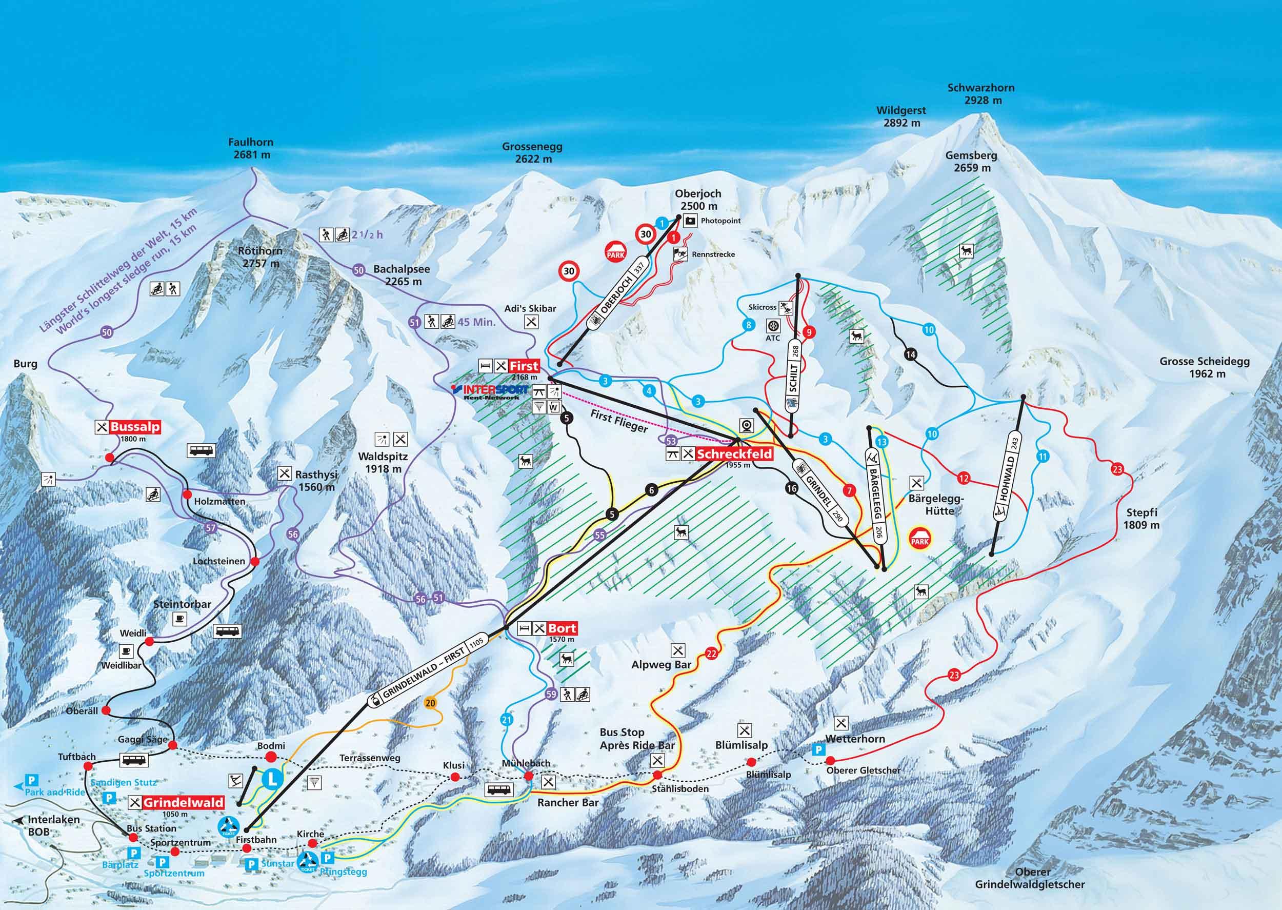 Ski map Jungfrau Region (Switzerland) Ski Resorts In Switzerland Map on map zermatt, map cities in switzerland, map ski resorts in france, map hotels in switzerland,