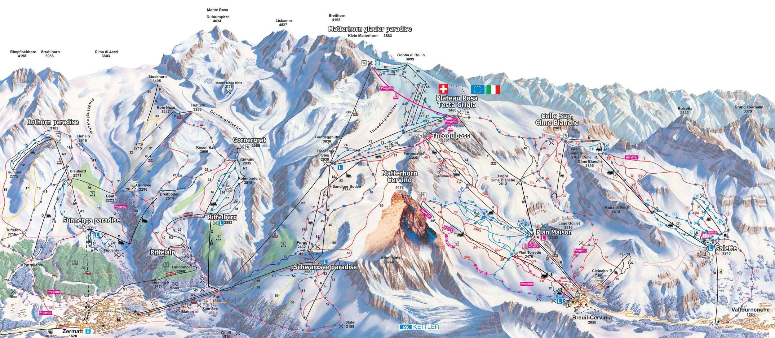 Cervinia Piste Map Ski map Breuil Cervinia (Italy)