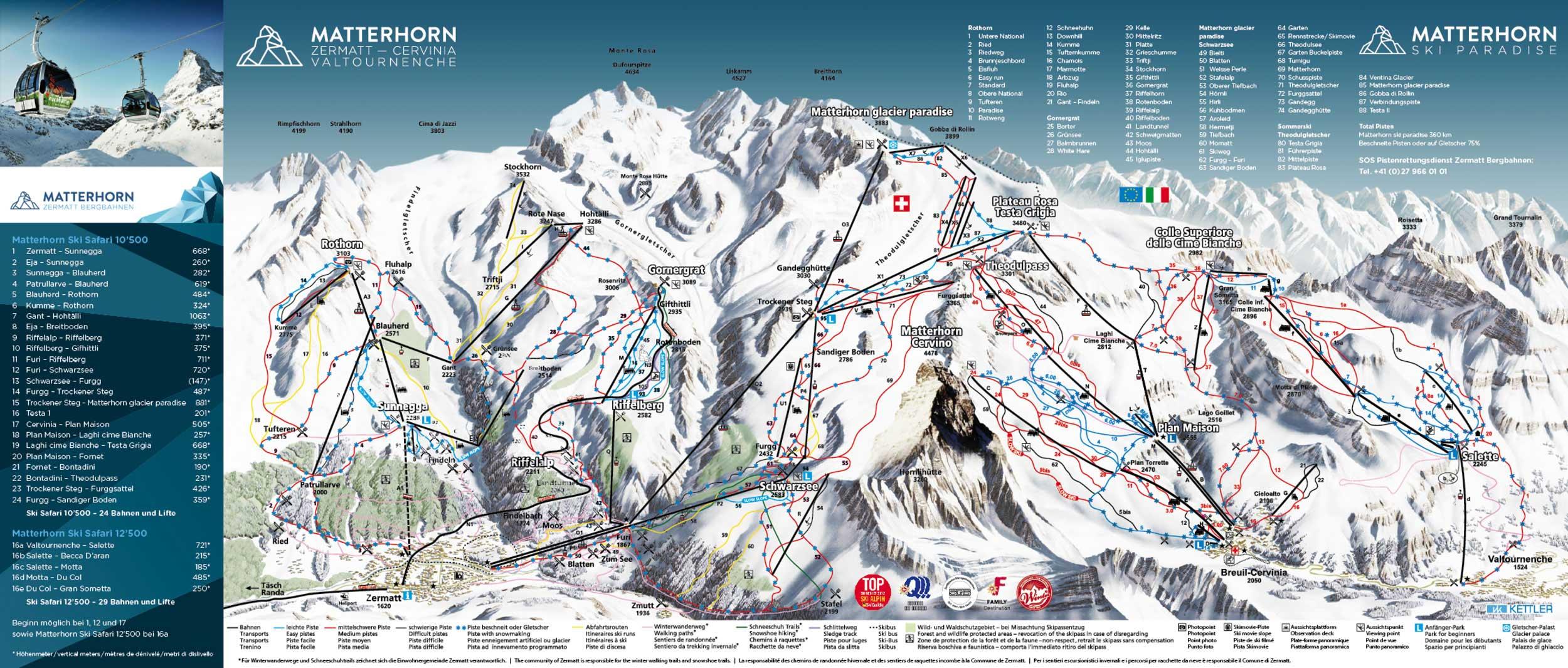 Ski map Breuil Cervinia (Italy)