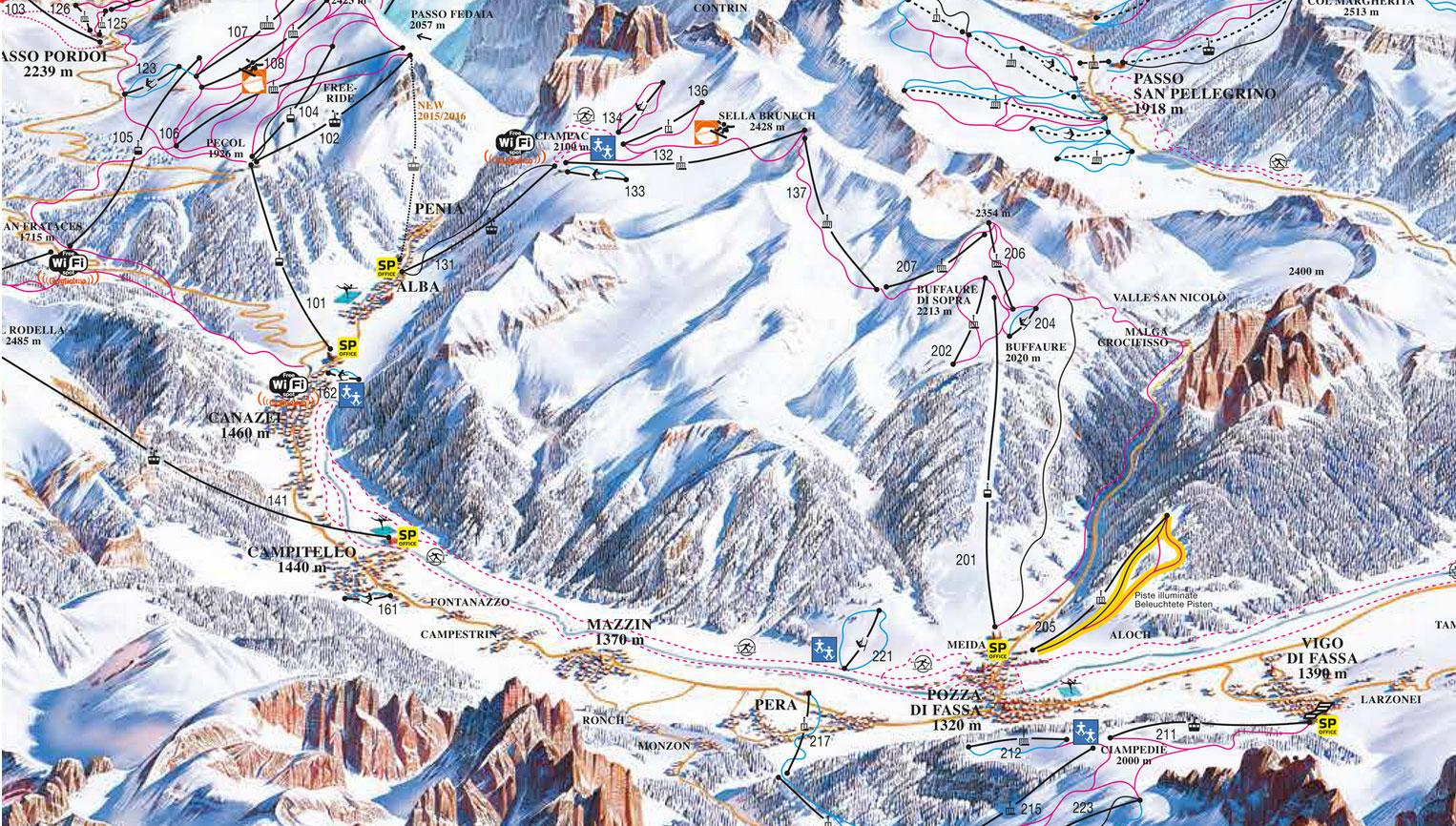 Pistenplan Fassatal (Val di Fassa) (Italien)