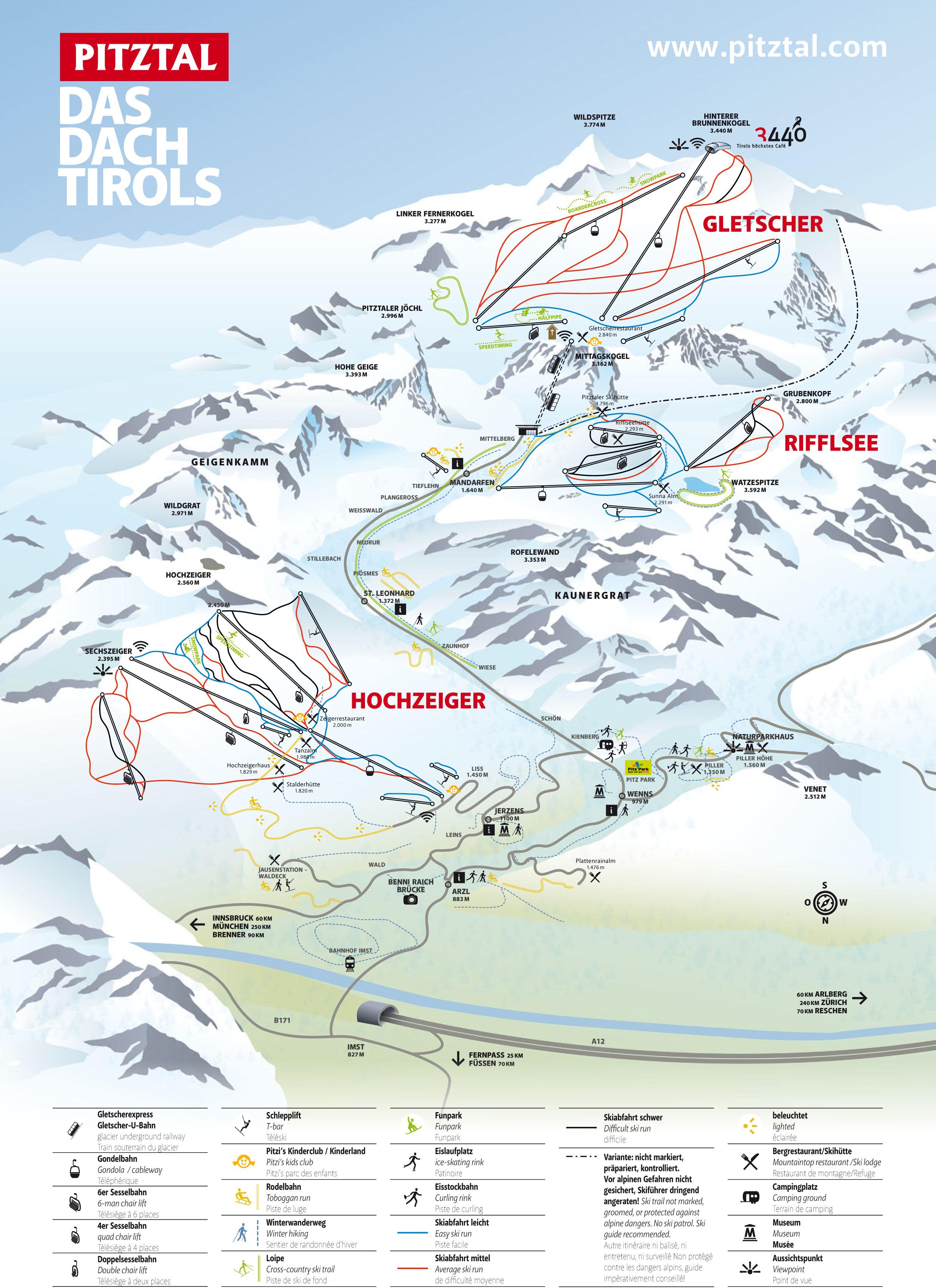 Pitztal Karte.Pistenplan Pitztal österreich