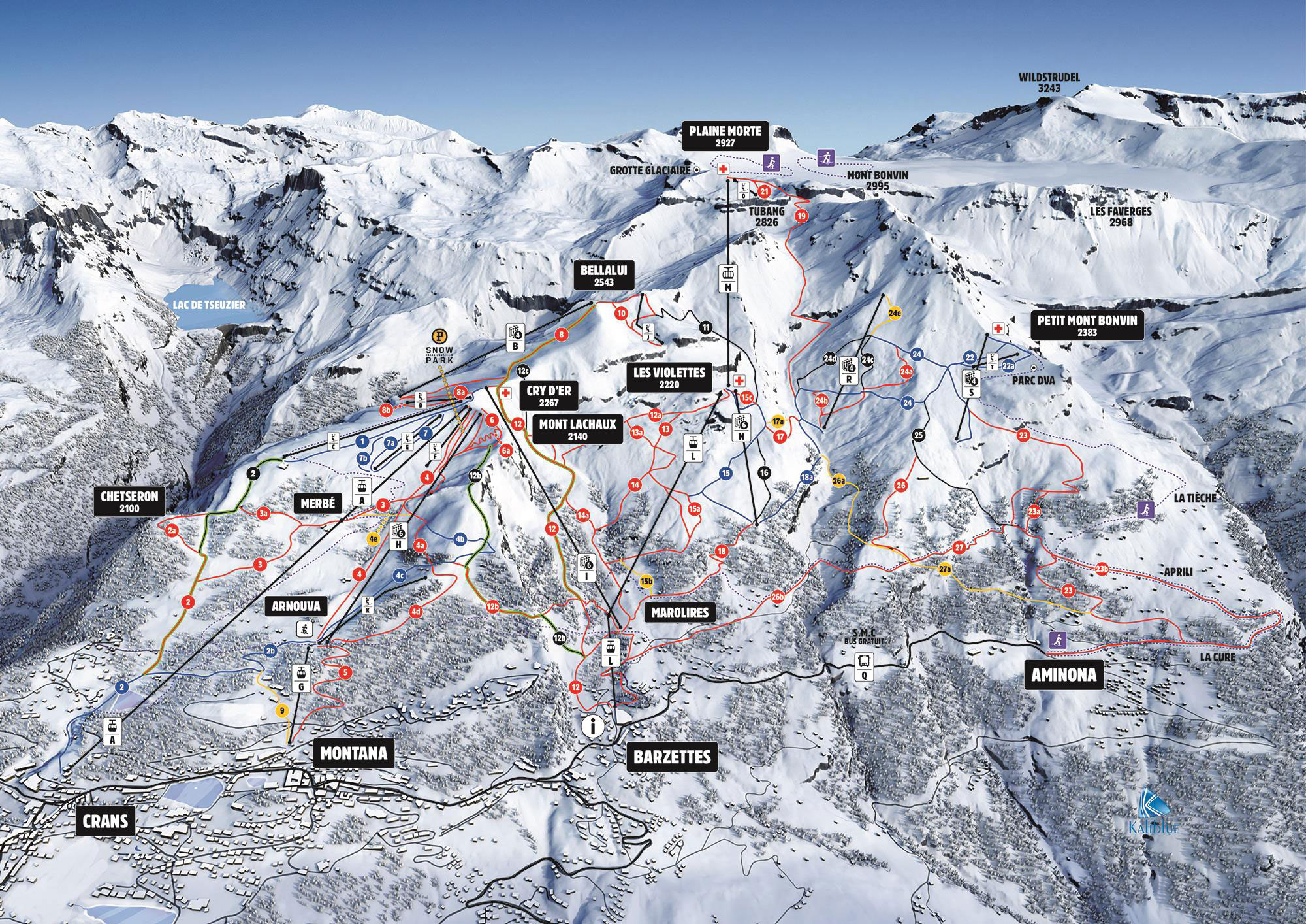Ski Map Crans Montana Switzerland