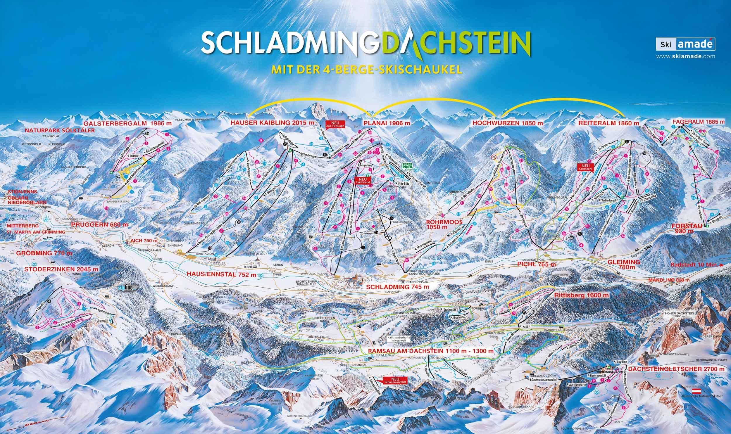 Dachstein Karte.Pistenplan Schladming Dachstein österreich