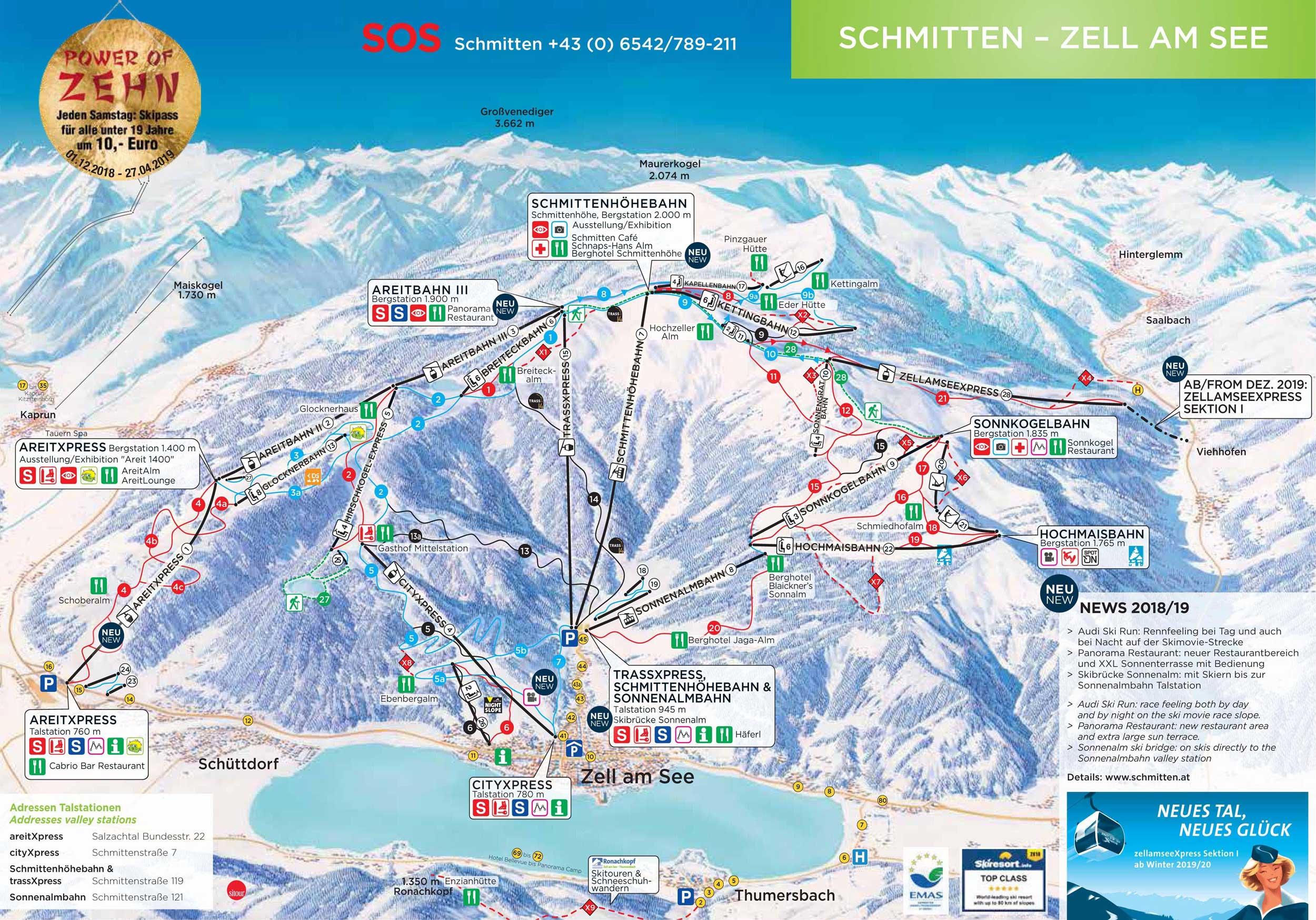 Kaprun Piste Map Ski map Zell am See   Kaprun (Austria)