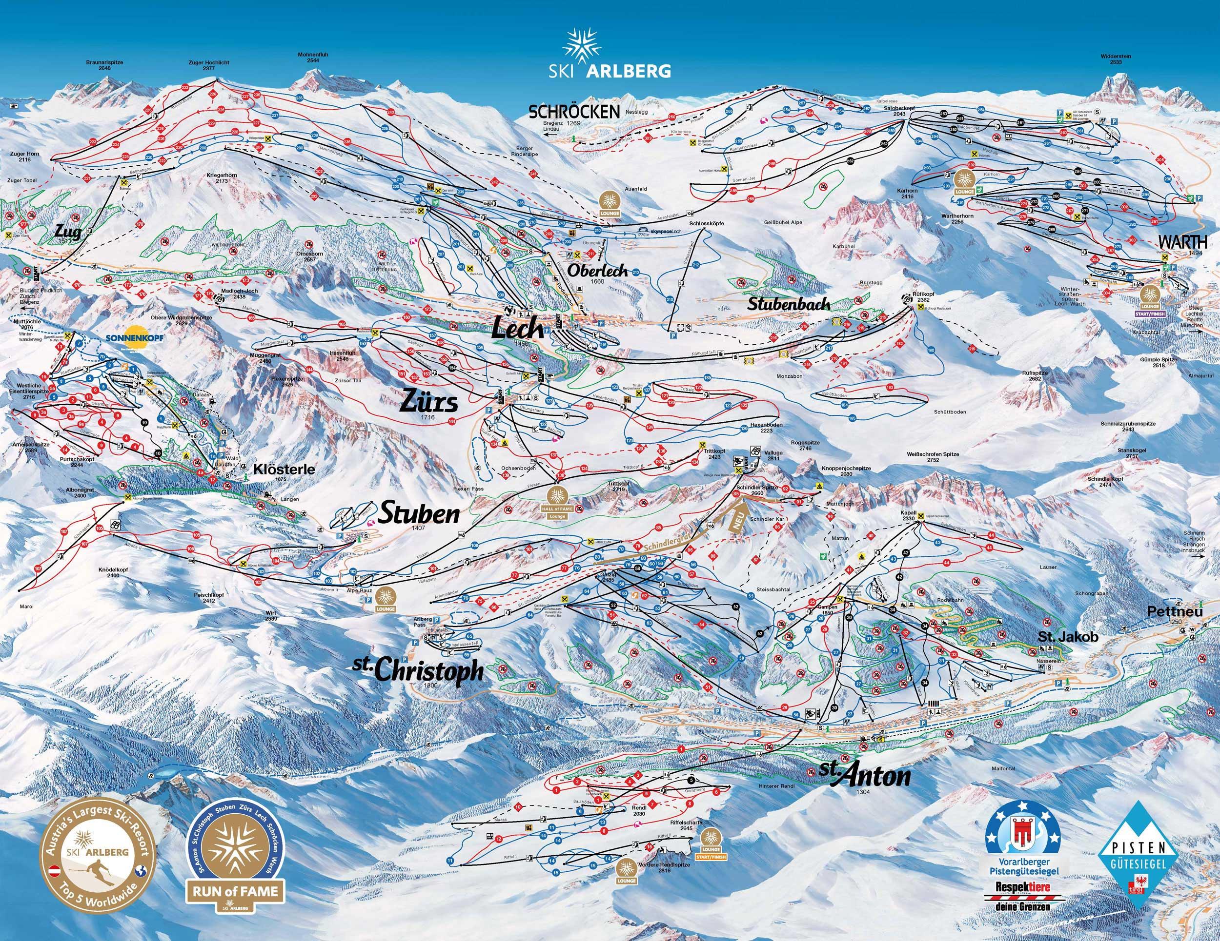 Pistenplan Ski Arlberg Osterreich