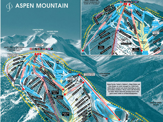 Pistenplan Aspen Mountain