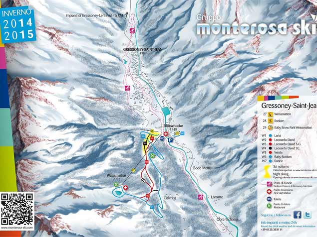 Plan des pistes Gressoney Saint Jean
