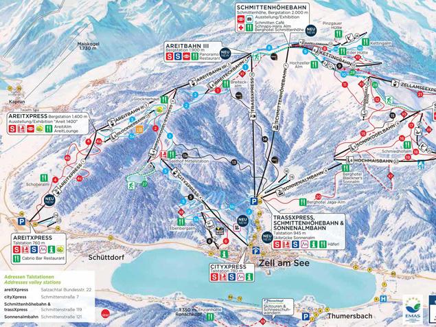 Zell Am See Piste Map Ski map Zell am See   Kaprun (Austria)