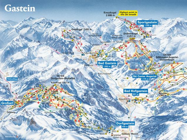 Pistenplan Bad Gastein (Salzburger Land)