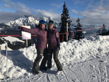 Two girls pose for a photo on the Kohlmaiskopf