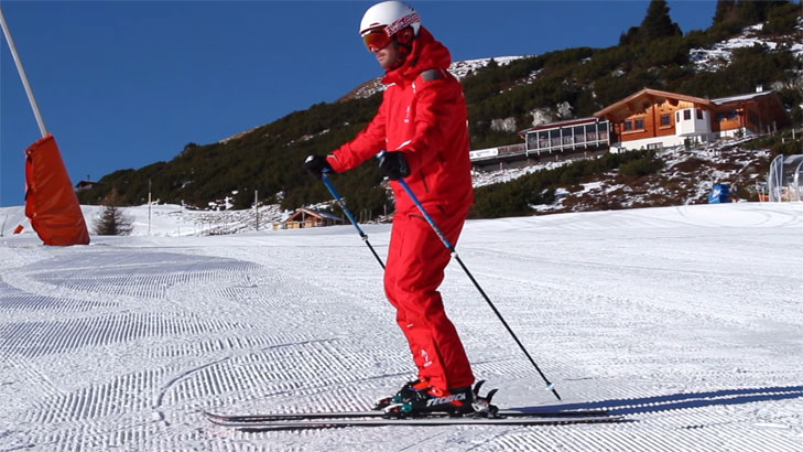 Skier with proper stance