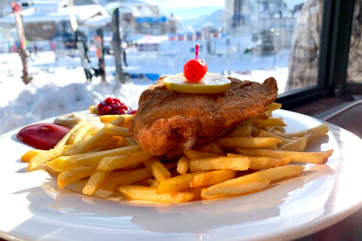 Schnitzel with chips on a ski holiday