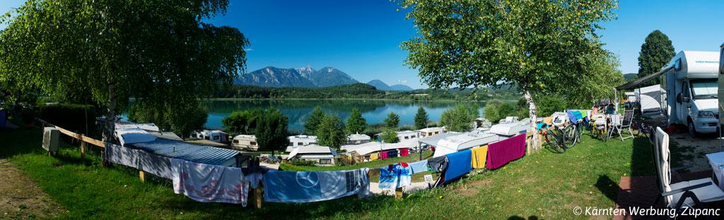 Kamperen aan de Millstättersee in Karinthië in Oostenrijk