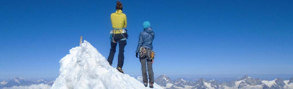 Op de top van de Lyskamm, bergsportcursus