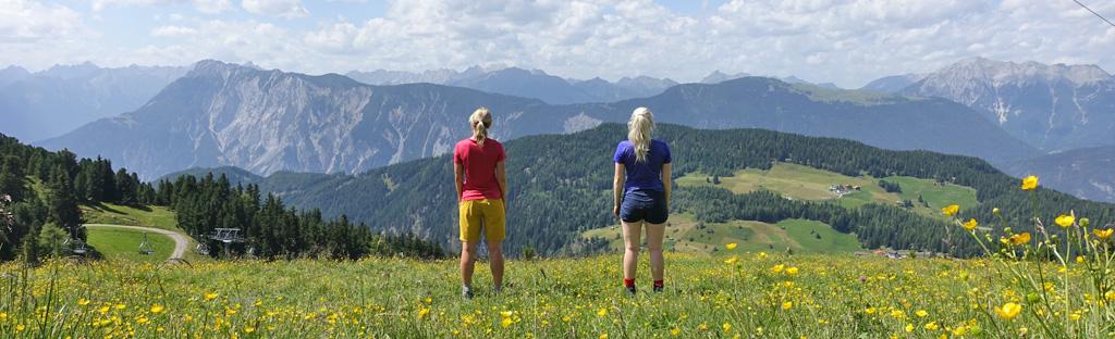Wandelaars kijken uit over de bergen