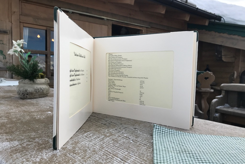 menu kaart