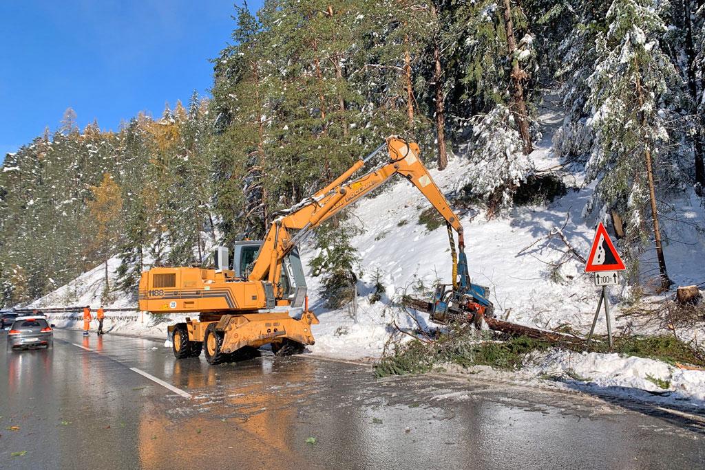 omgevallen bomen Ötztalstraße