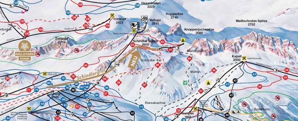 Piste map Ski Arlberg Schindlergratbahn