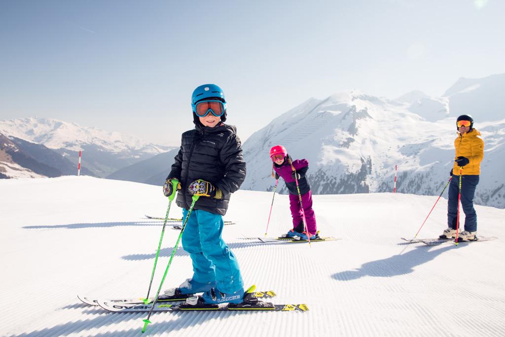 Family skiing at Hintertux Glacier