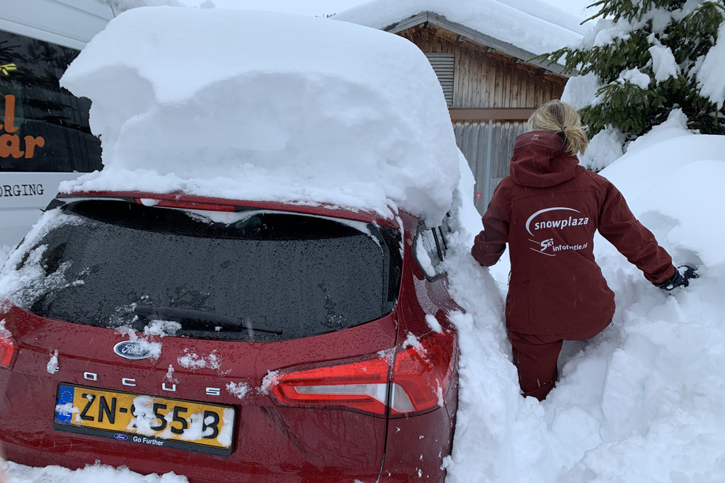 snowed-in car