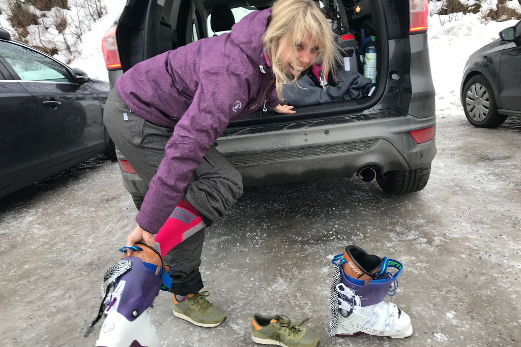 trying on ski boots