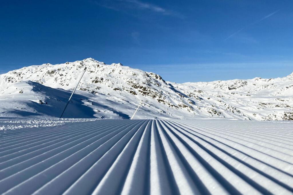 fresh corduroy ski piste