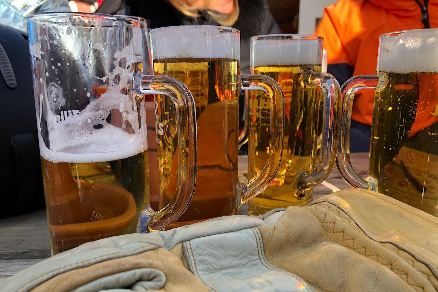 bier in de apres ski