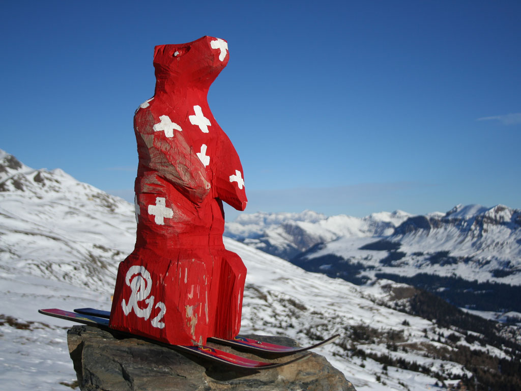 Swiss painted bear at Arosa Lenzerheide ski area