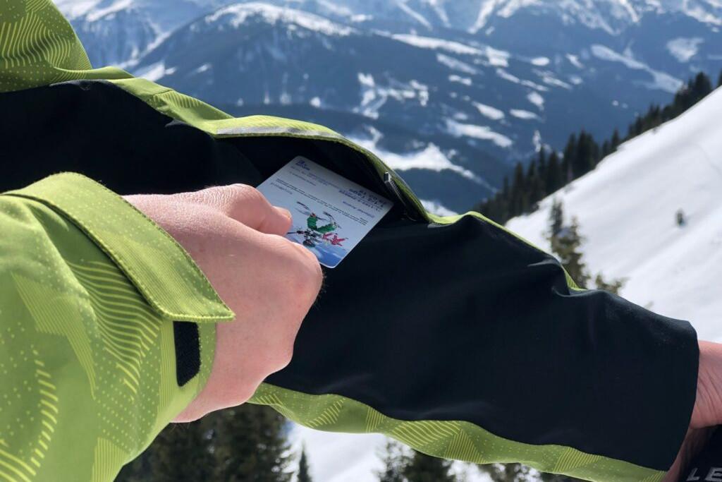 ski pass in jacket
