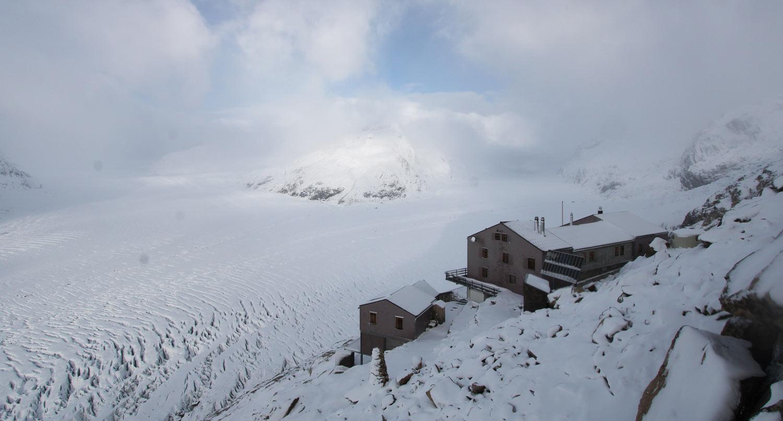 Aletsch Gletscher Aletsch Arena Neuschnee