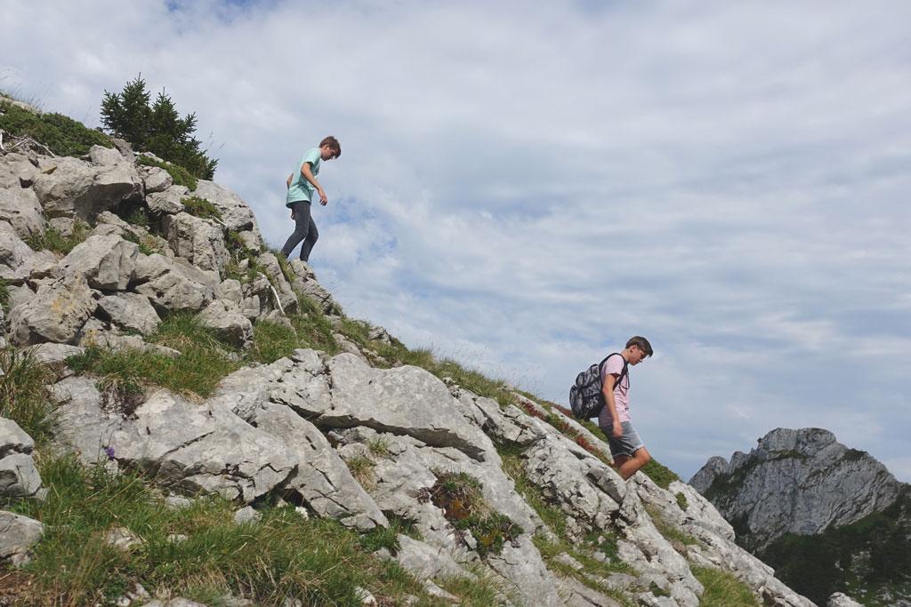 Kinderen wandelen in de bergen