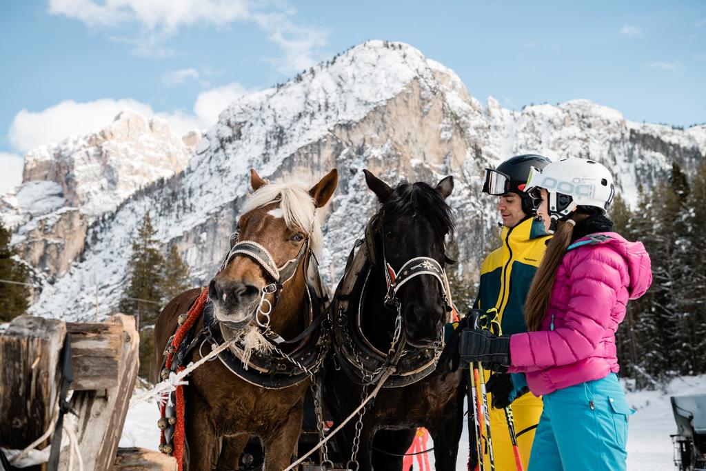 Tocht met paardenslee in Alta Badia